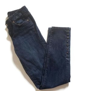 Cache Dark Wash Straight Leg Jeans Studded detail